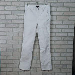 NYDJ Marilyn Straight Jeans White Sz 8
